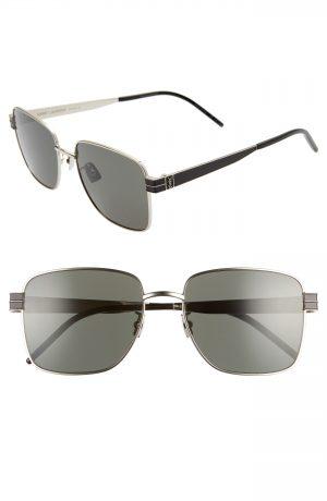 Men's Saint Laurent 57Mm Navigator Sunglasses - Silver