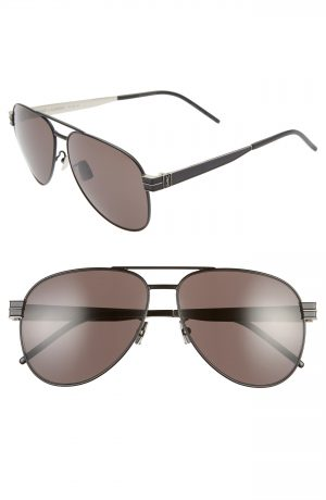 Men's Saint Laurent 60Mm Aviator Sunglasses - Black