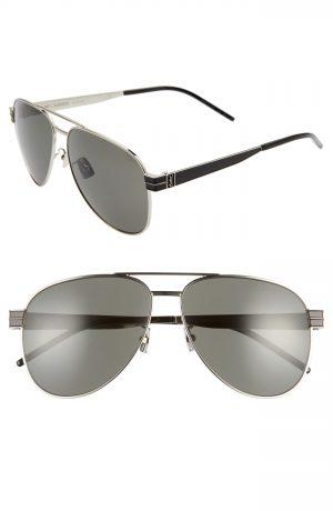 Men's Saint Laurent 60Mm Aviator Sunglasses - Silver