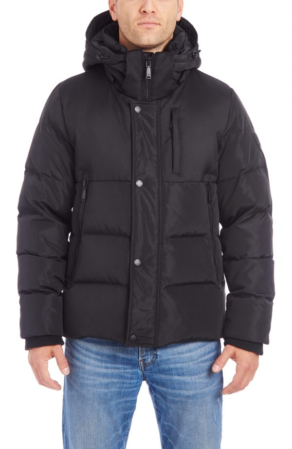 Men's Vince Camuto Mixed Media Hood Puffer Jacket, Size Small - Black