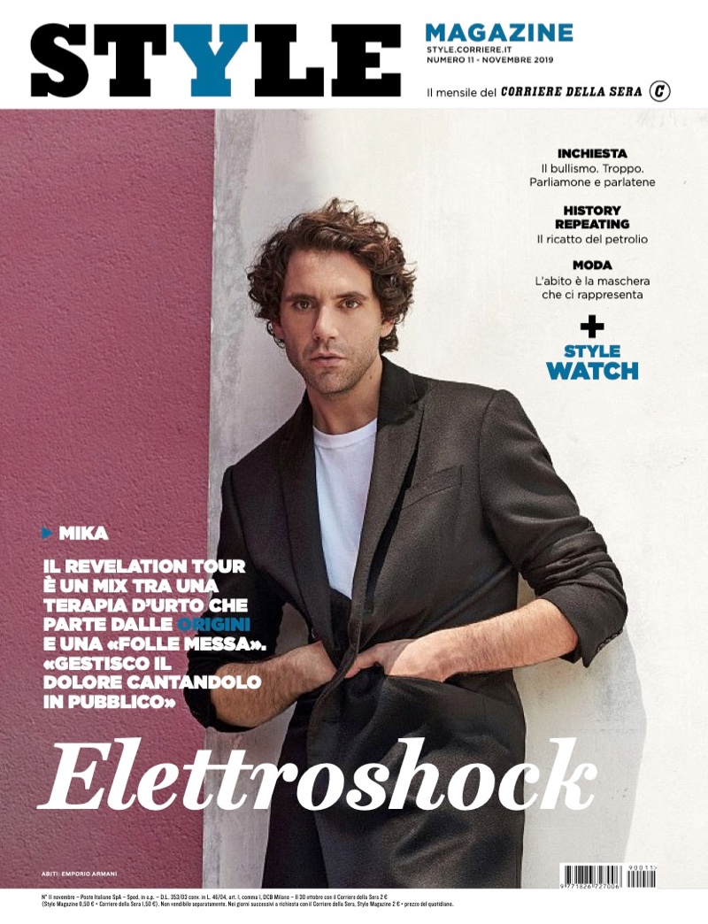 Mika covers the November 2019 issue of Corriere della Sera Style.
