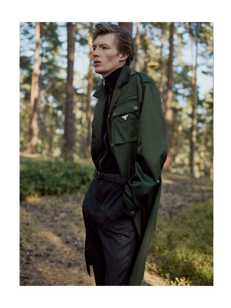 Making a case for the trench, Finnlay Davis wears one by Prada.