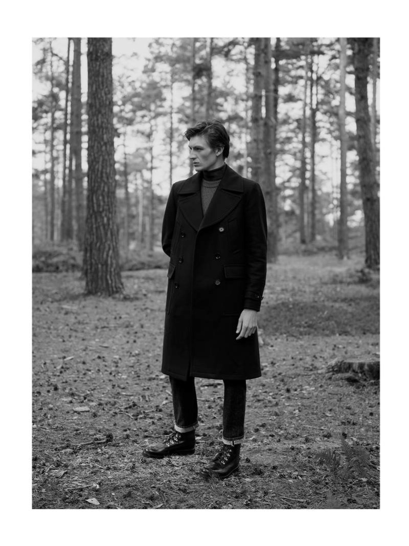 Embracing military style, Finnlay Davis wears a Belstaff double-breasted padded wool-blend overcoat.