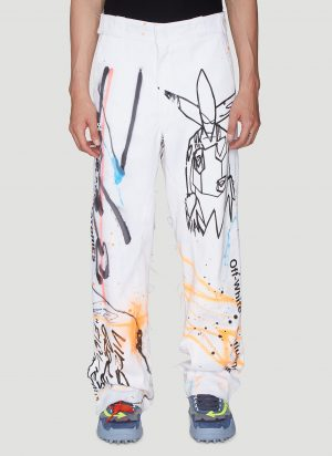 Off-White Wide-Leg Printed Pants in White size 28