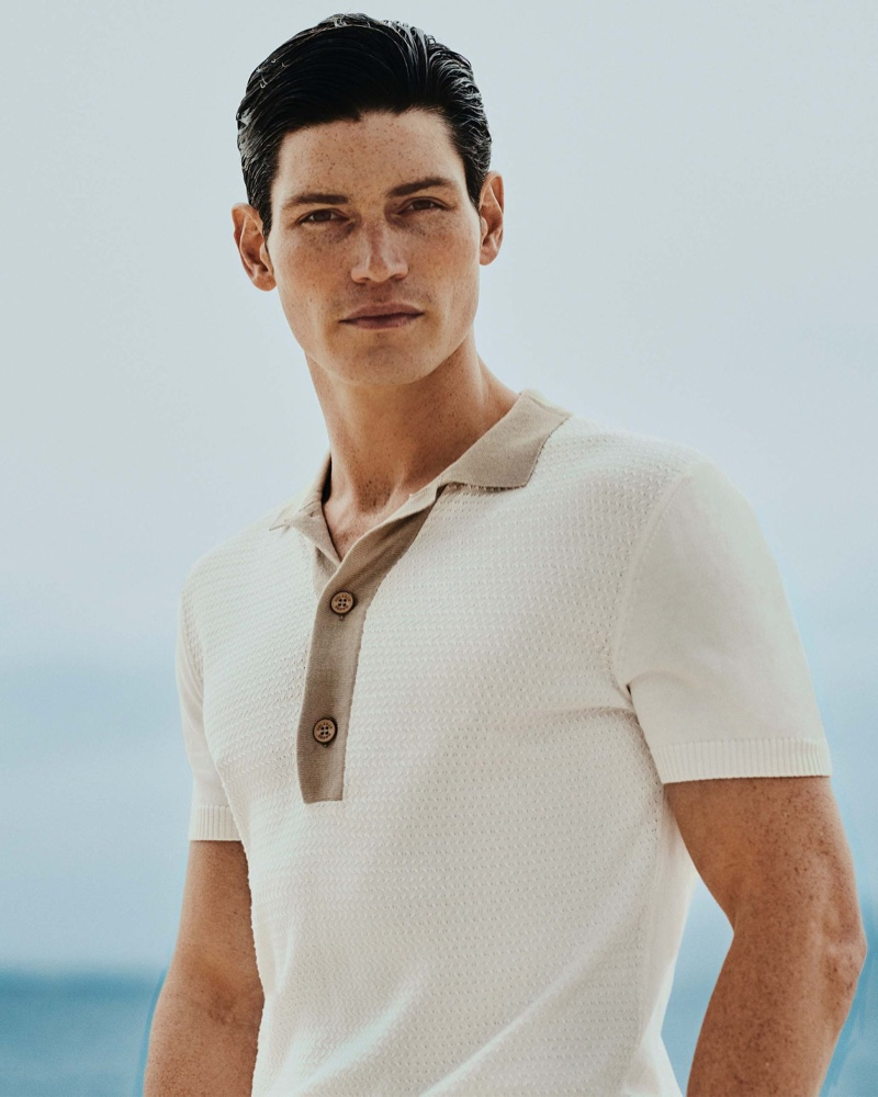 Sam Way dons an Orlebar Brown canvas/stone tailored-fit knitted polo $375.