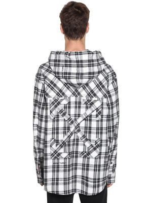 Over Hooded Check Cotton Blend Shirt