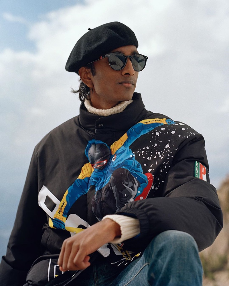 Model Jeenu Mahadevan dresses for the cold in a graphic jacket from POLO Ralph Lauren.