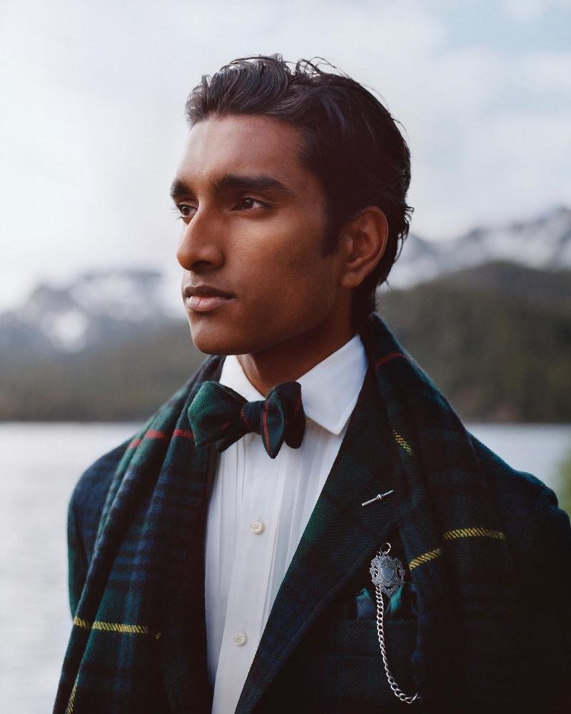 An elegant vision, Jeenu Mahadevan sports a tartan holiday look by POLO Ralph Lauren.