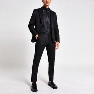 River Island Mens Black skinny fit tux suit trousers