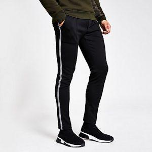 River Island Mens Black taped super skinny jogger trousers