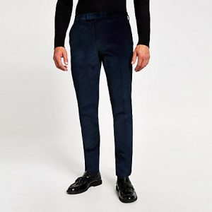 River Island Mens Blue cord skinny suit trousers