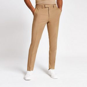 River Island Mens Camel stretch skinny suit trousers