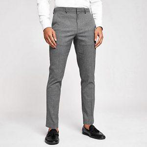 River Island Mens Dark grey skinny suit trousers
