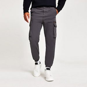 River Island Mens Grey cargo trousers