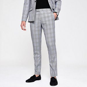 River Island Mens Grey check skinny fit suit trousers