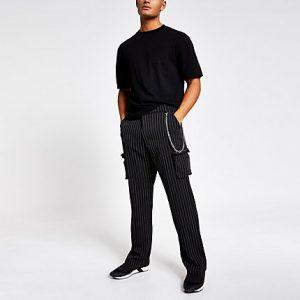 River Island Mens Jaded London black pinstripe cargo trousers