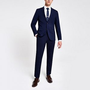 River Island Mens Navy skinny suit trousers