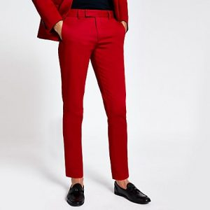 River Island Mens Red stretch skinny suit trousers