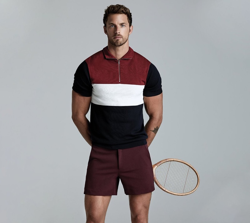 Sporting tennis-inspired style, Christian Hogue links up with Ron Dorff for fall-winter 2019.