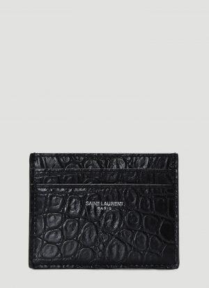 Saint Laurent Crocodile Cardholder in Black size One Size