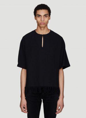Saint Laurent Fringe Hem Canvas Kimono Tunic in Black size EU - 40