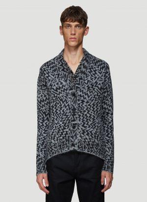 Saint Laurent Jacquard Knit Cardigan in Grey size M