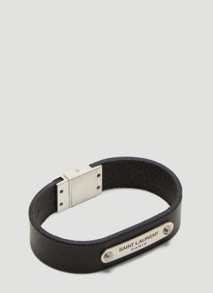 Saint Laurent Logo Plaque Leather Bracelet in Black size S