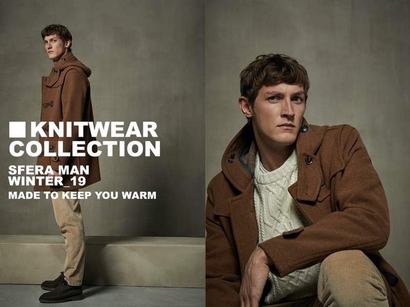Rutger Schoone dons a cable-knit sweater with a duffle coat and corduroy pants from Sfera.