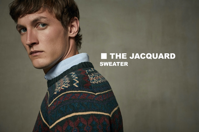 Ready for his close-up, Rutger Schoone sports a Sfera jacquard knit sweater.