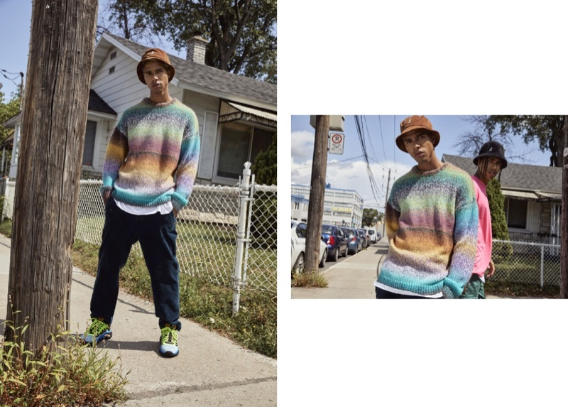 Stealing the spotlight, Daouda Ka wears a colorful gradient print knit from Djab.
