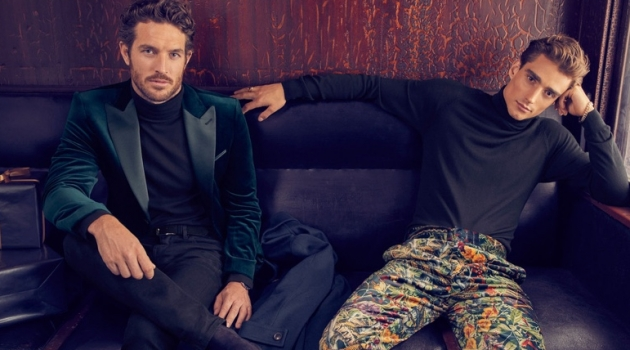 Models Justice Joslin and Kane Roberts star in Simons' holiday 2019 campaign.