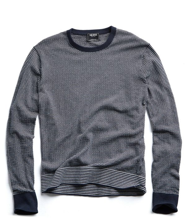 Striped Cotton Crewneck in Navy