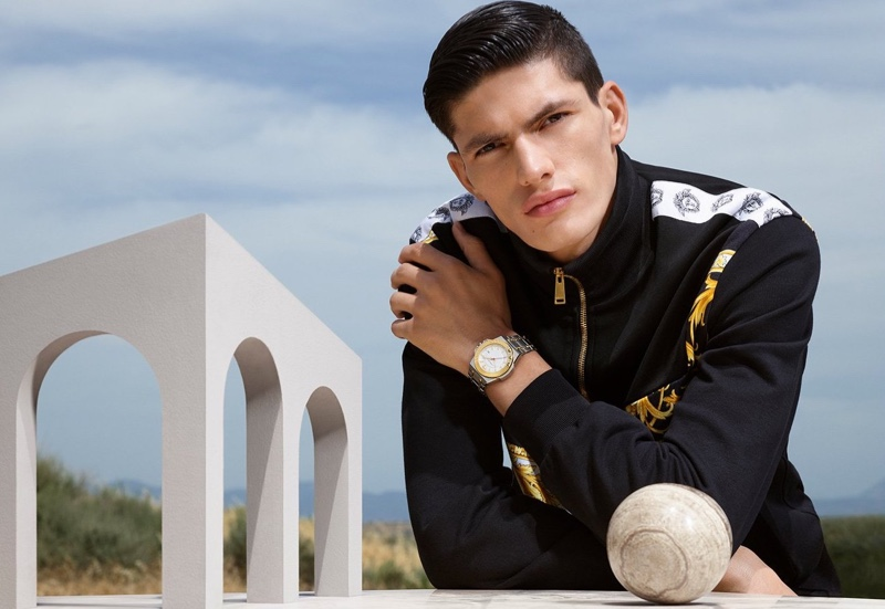 Islam Dulatov fronts Versace's 2019 watches campaign.