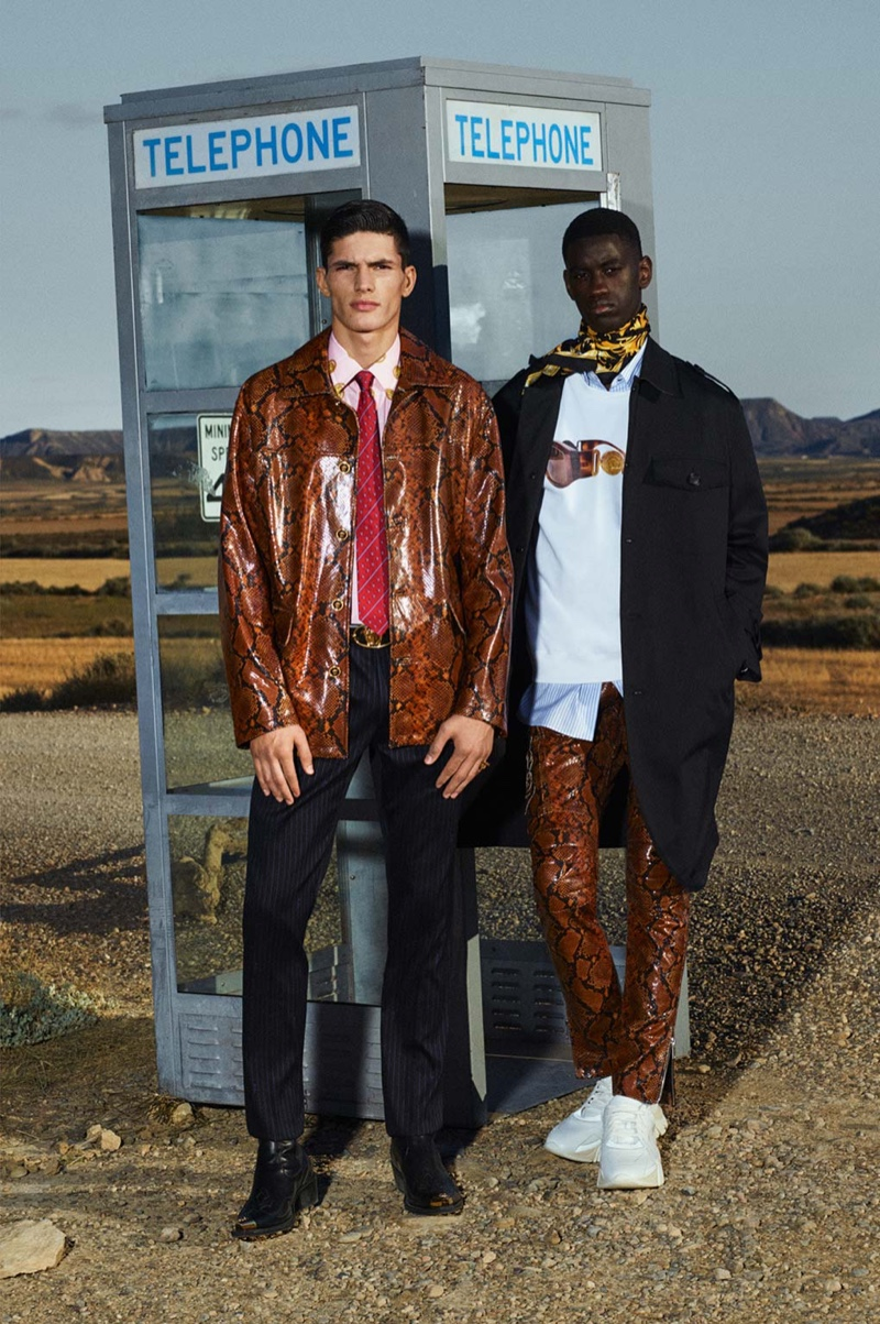 Making a case for reptile prints, Islam Dulatov and Soulemane Tounkara rock leather from Versace's cruise 2020 collection.