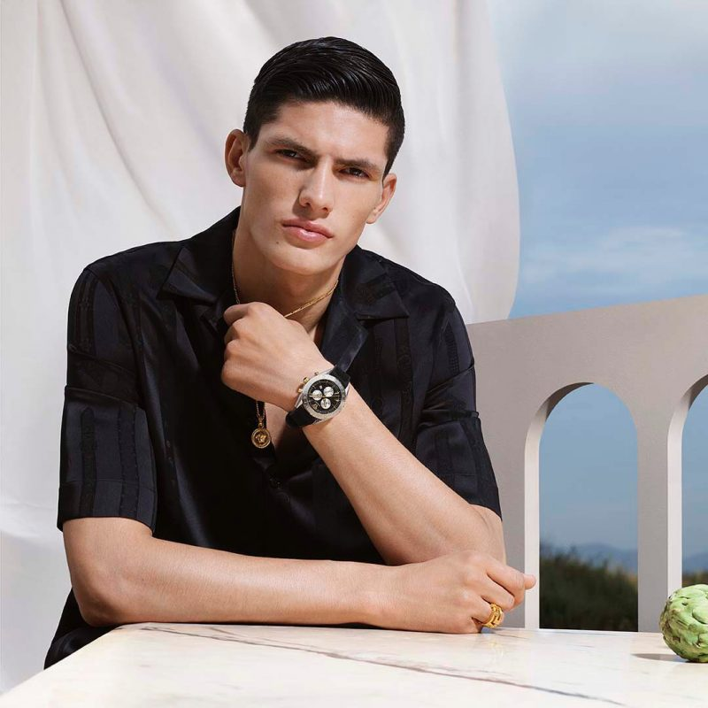Model Islam Dulatov stars in Versace's 2019 watches campaign.