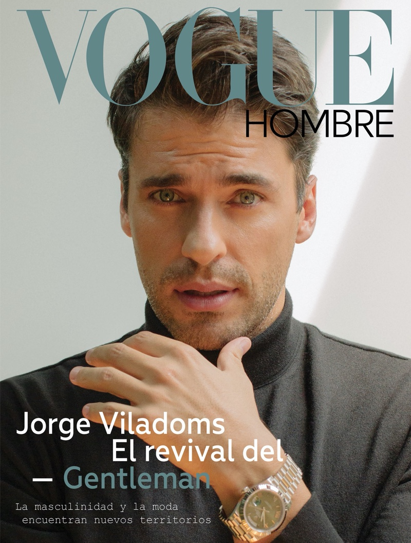 Jorge Viladoms covers Vogue Hombre in a turtleneck sweater by Ermenegildo Zegna with a Rolex watch.