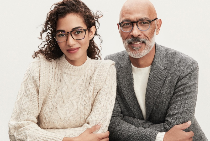 Pictured right, model Lono Brazil makes a statement in Warby Parker Baker glasses.