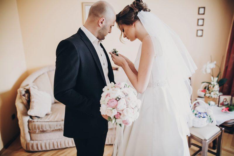 Wedding Couple Getting Ready