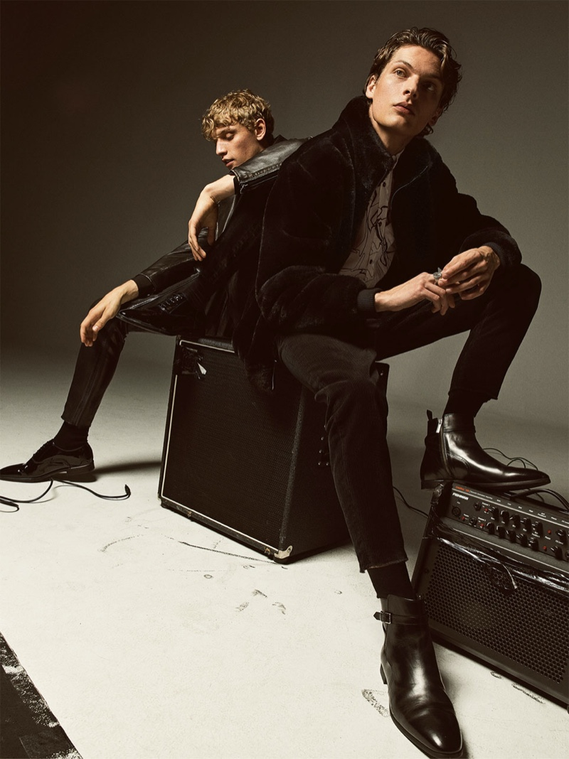 Models Peter Dupont and Valentin Caron wear Zara fashions for a rock-inspired editorial.