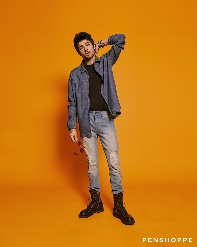 Connecting with Penshoppe, Zayn Malik inspires in a denim overshirt and frayed jeans.