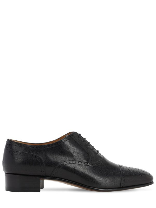 30mm Leather Lace-up Shoes W/gg Logo