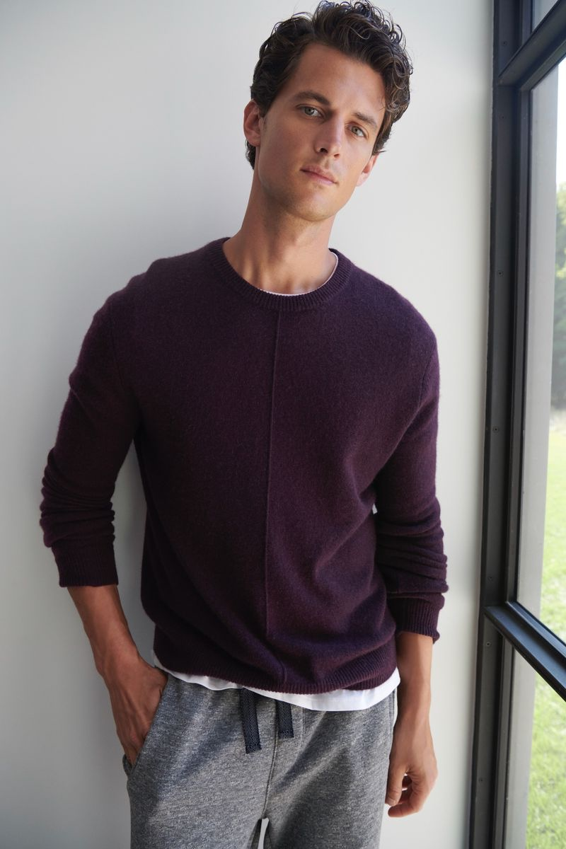 Garrett Neff sports a cashmere exposed seam sweater with joggers from ATM.