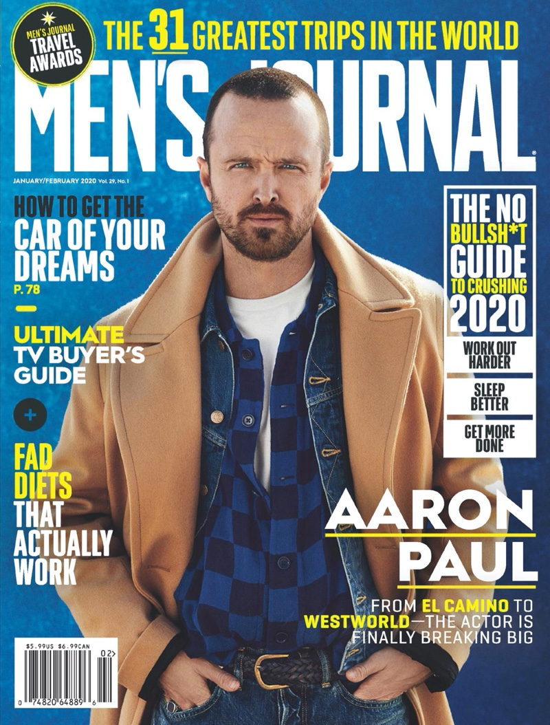 Aaron Paul covers the January/February 2020 issue of Men's Journal.