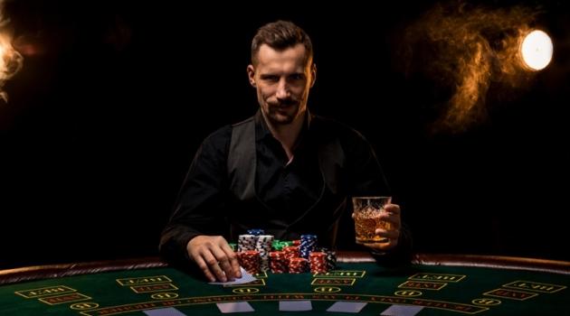 Attractive Man Black Vest Shirt Poker
