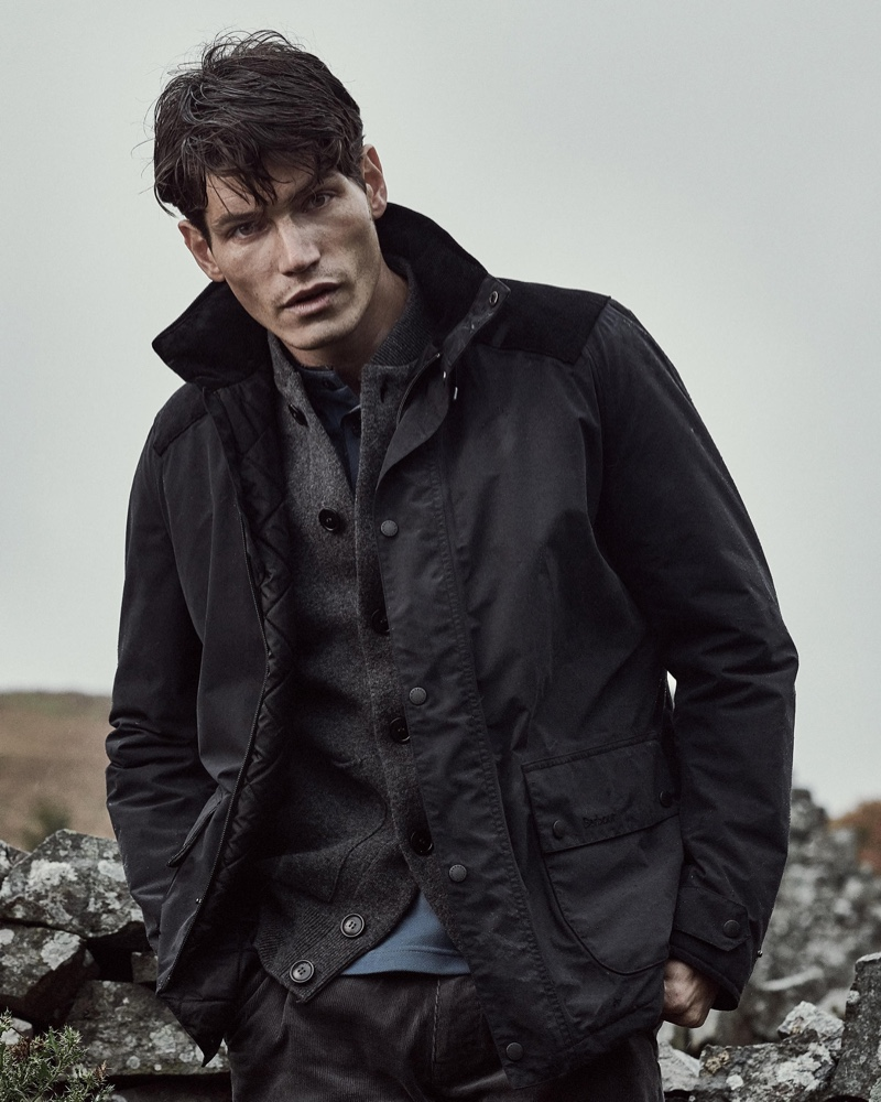 Sam Way keeps warm in fall-winter 2019 layers from Barbour.