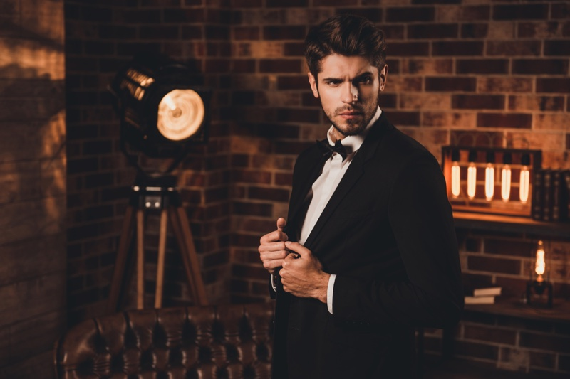 Bearded Man Tuxedo Bow Tie Male Model