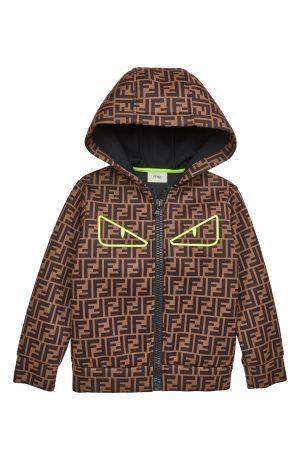 Boy's Fendi Logo Zip Hoodie, Size 6Y - Brown
