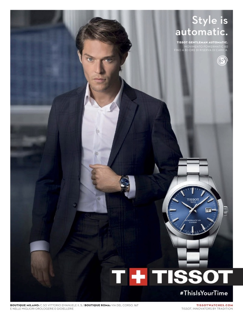 Belgian model Cesar Casier suits up for Tissot's watch campaign.