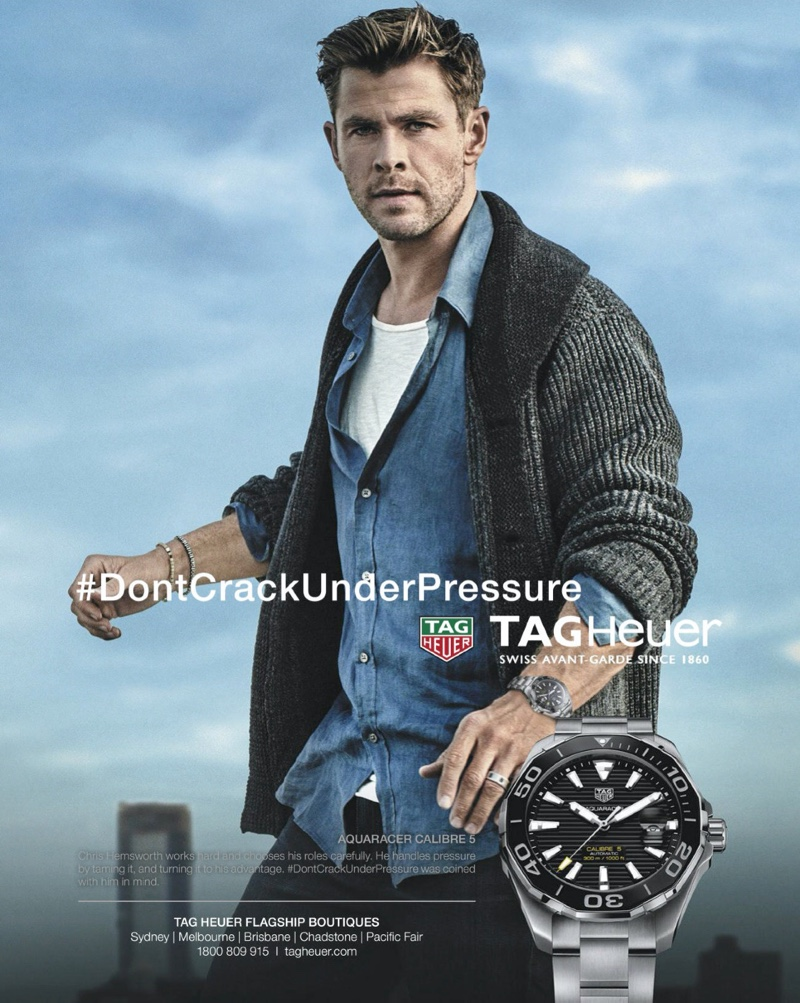 Front and center, Chris Hemsworth appears in a campaign for TAG Heuer.