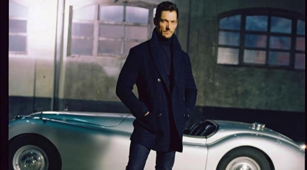 Front and center, David Gandy dons Massimo Dutti menswear.